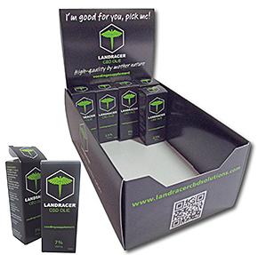 Voorbeeld van milieuvriendelijke verpakkingen, displaydoos, doosje cbd-olie