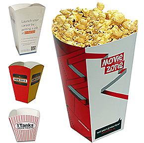 Voorbeeld van milieuvriendelijke verpakkingen, milieuvriendelijk popcornbakje, milieuvriendelijk popcorndoosje